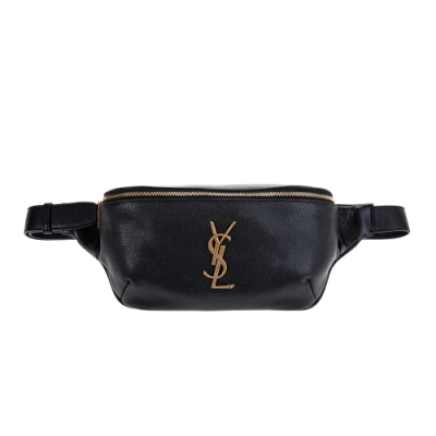 YSL 經典金屬YSL LOGO魚子醬牛皮腰包/胸口包 (黑色)