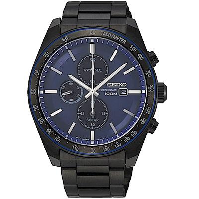 精工SEIKO潮流時尚太陽能計時腕錶(SSC731P1)-黑x藍