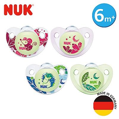 德國NUK-夜光矽膠安撫奶嘴-一般型6m+2入(顏色隨機出貨)