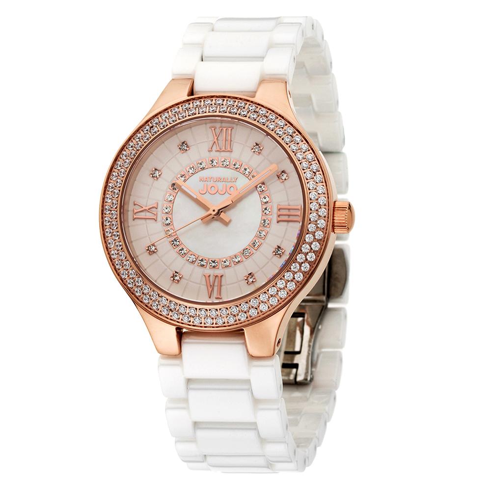 NATURALLY JOJO放閃無極限晶鑽陶瓷腕錶-玫瑰金/37mm