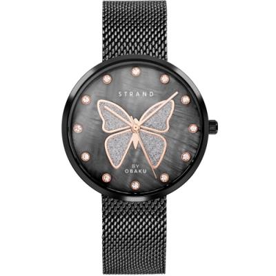 STRAND 丹麥海之星時尚腕錶-蝴蝶-黑/35mm(S700LXBBMB-DB)