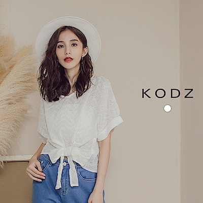 東京著衣-KODZ 氣質典雅雕花綁帶短線上衣(共一色)