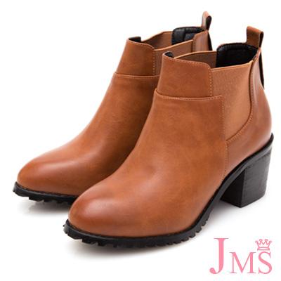 JMS-經典素面拼接鬆緊帶粗跟短靴-棕色