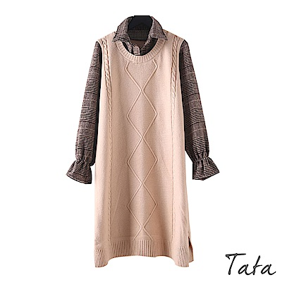 編織拼接格紋針織洋裝 共二色 TATA