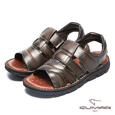 CUMAR 舒適真皮 經典舒適皮涼鞋-咖啡