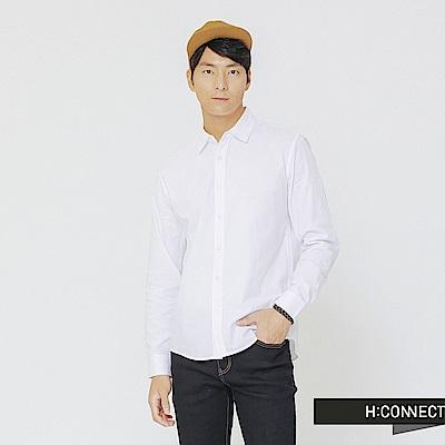 H:CONNECT 韓國品牌 男裝-素面柔軟棉質襯衫-白