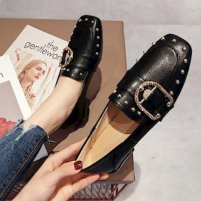 韓國KW美鞋館 搶鮮購文藝氣質素雅平底鞋-黑色