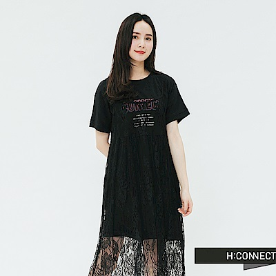 H:CONNECT 韓國品牌 女裝-蕾絲搭配兩件式洋裝-黑