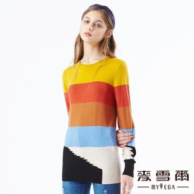 【麥雪爾】多彩色塊長版針織衫