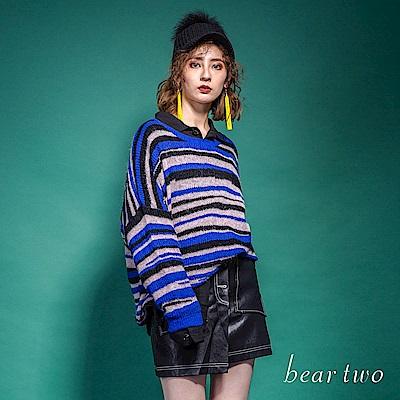 beartwo 經典條紋落肩保暖毛料針織上衣(藍色)