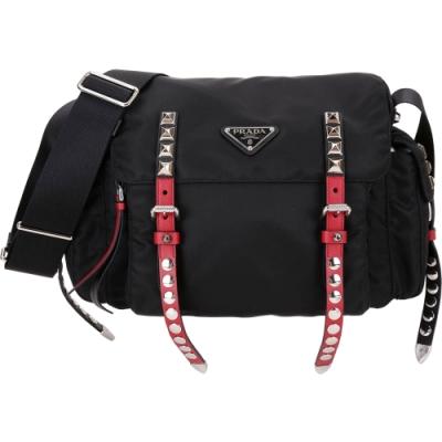 PRADA 火紅撞色皮革鉚釘尼龍背帶斜背包(黑色)