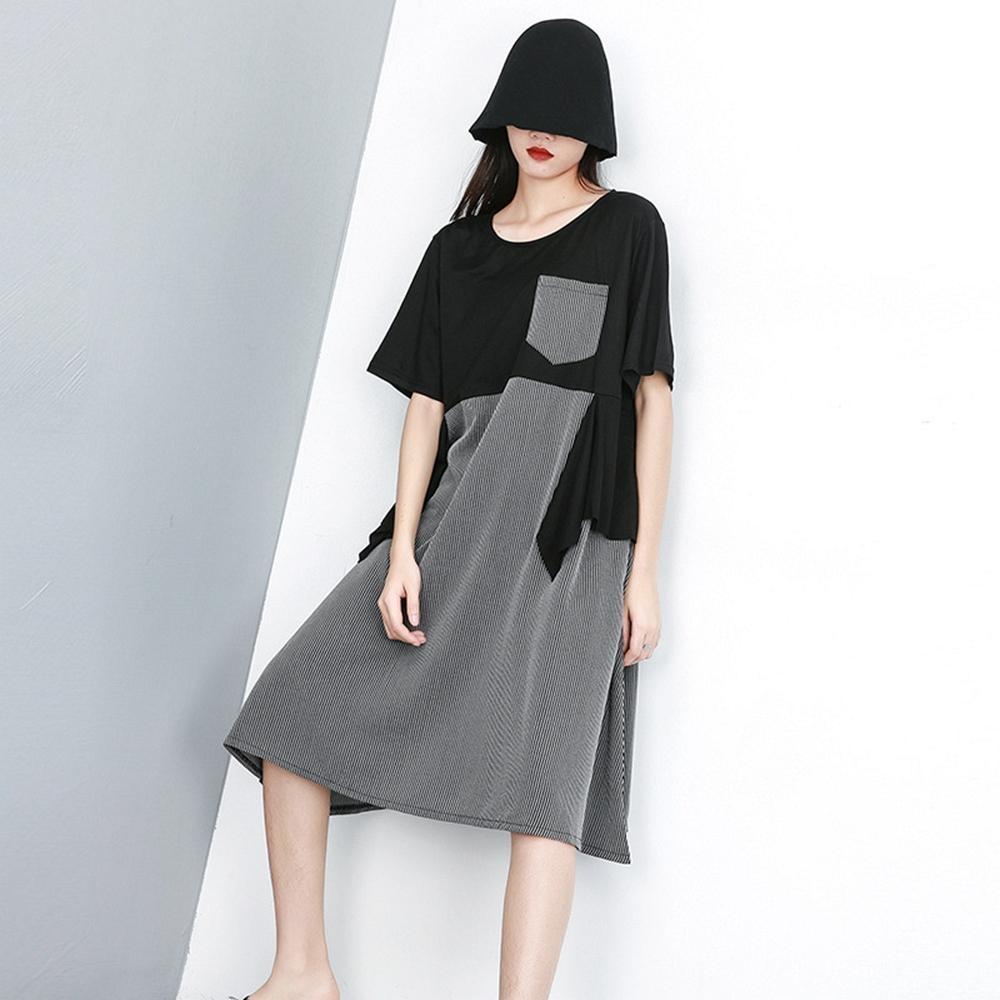 時尚韓版寬鬆條紋拼接長裙-F-CLORI