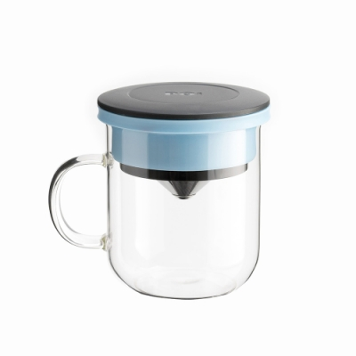 【PO:Selected】丹麥研磨過濾咖啡玻璃杯350ml 2.0 (黑+藍)