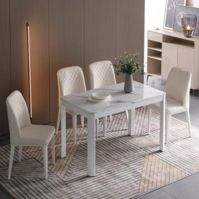 MUNA 艾森特4尺白色石面餐桌(1桌4椅) 120X70X75cm
