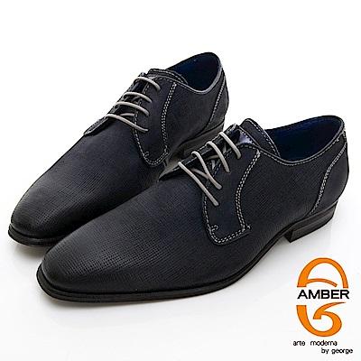 【AMBER】 商務時尚 葡萄牙進口綁帶經典手工紳士皮鞋-黑色