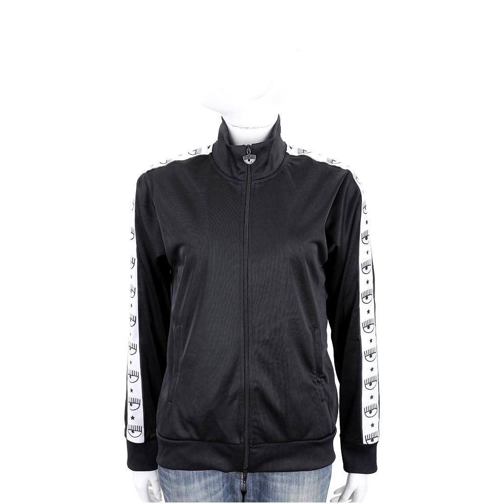 Chiara Ferragni Logomania 眨眼印花織帶黑色拉鍊運動外套