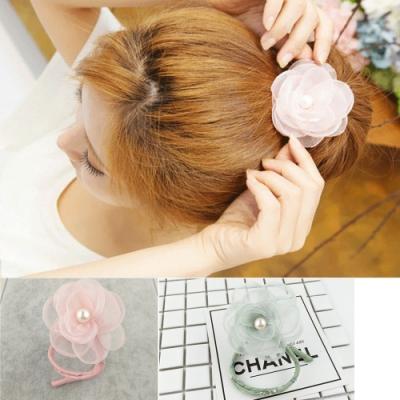 Hera 赫拉 絹紗玫瑰珍珠花苞丸子盤髮器-2色