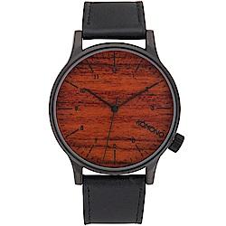 KOMONO Winston 腕錶-性格黑x紅木/41mm