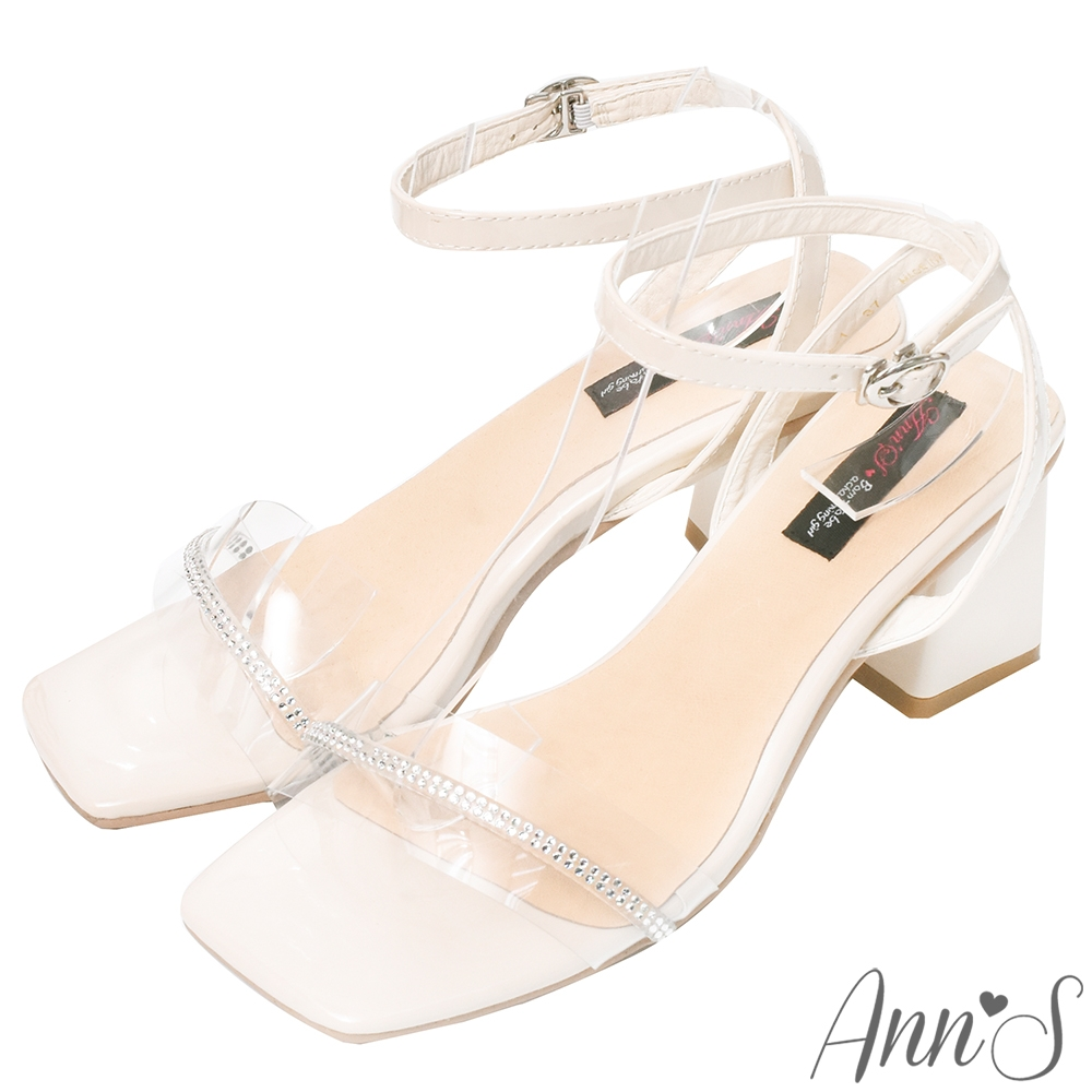 Ann'S純欲感-透明細緻鑽鍊梯形粗跟方頭涼鞋-米