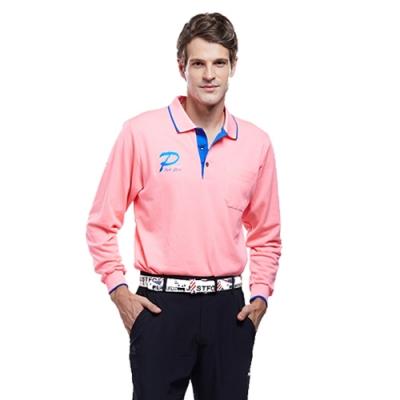 Londa Polo雙棉PK吸排布男版長袖POLO衫P59664亮粉桔