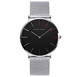 HANNAH MARTIN 精彩人生無秒針設計腕錶-黑錶盤x銀色刻度/36mm