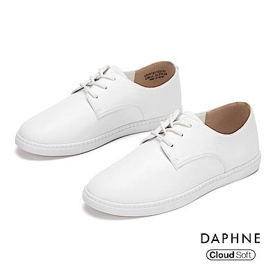 達芙妮DAPHNE 休閒鞋-經典潮流純色綁帶休閒鞋-白