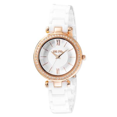 Folli Follie 極緻晶耀陶瓷腕錶-白(WF16B009BPW-XX)