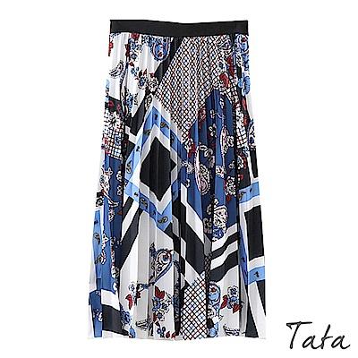 幾何印花百褶雪紡長裙 TATA