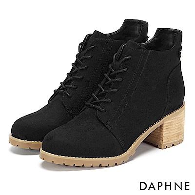 達芙妮DAPHNE 踝靴-原色交叉綁帶復古木紋粗跟靴-黑