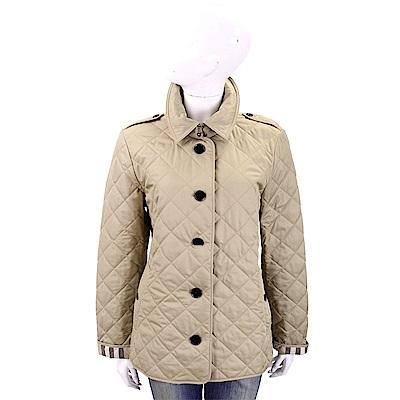 BURBERRY 燕麥色菱格絎縫釦式外套