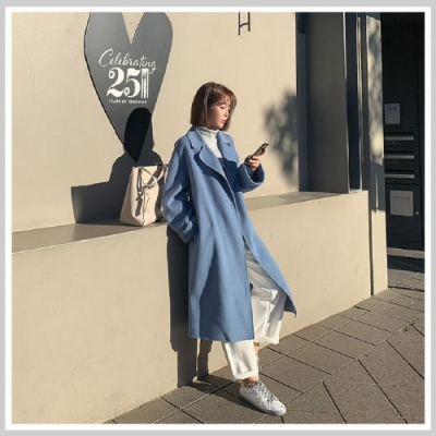 羊毛外套 翻領質感雙面羊毛長大衣PT9018-創翊韓都