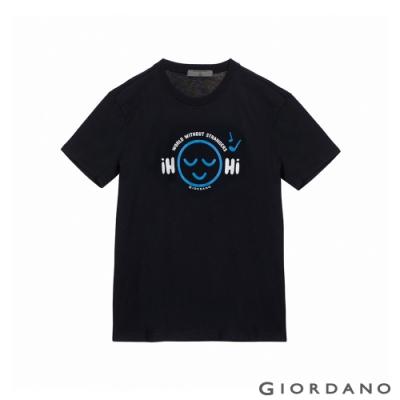 GIORDANO 男裝Greeting印花T恤 - 62 標誌海軍藍