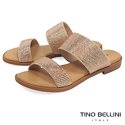 Tino Bellini 雙條帶璀璨亮鑽平底涼拖鞋 _ 杏