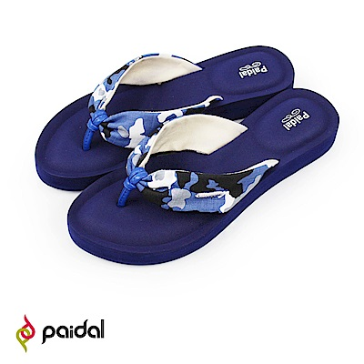 Paidal 甜美迷彩帆布抓皺厚底腳床夾腳涼拖鞋-藍