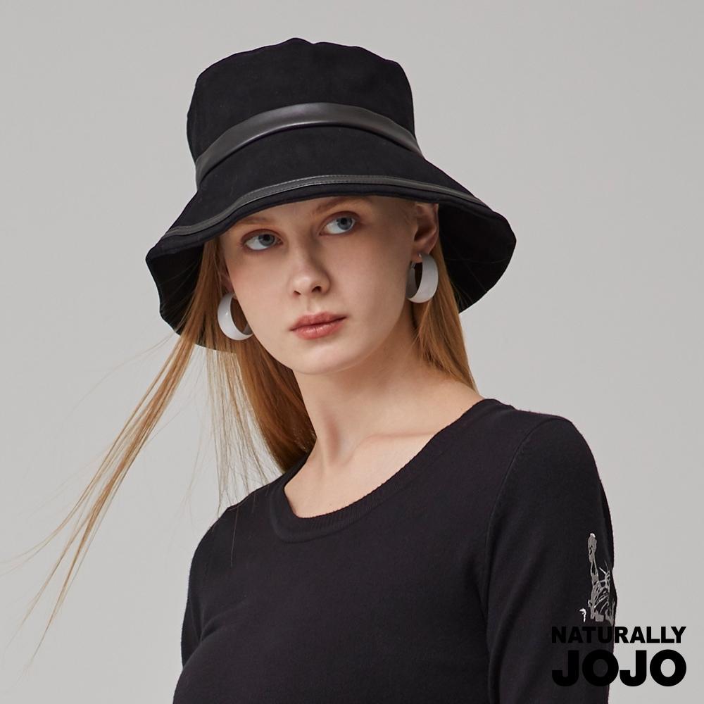【NATURALLY JOJO】 小J雙線配皮漁夫帽(黑)