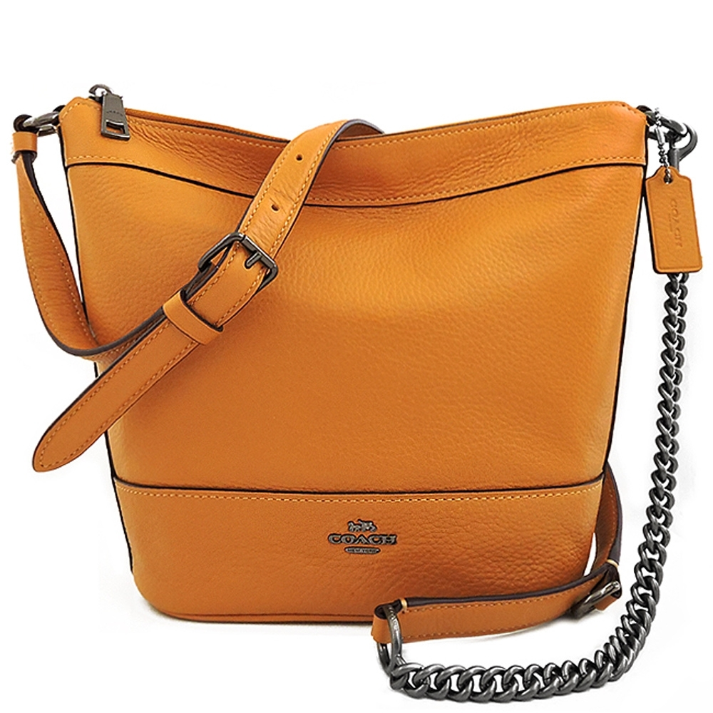 COACH 橙黃色荔枝紋皮革鍊帶斜背包