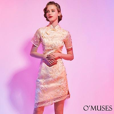 重工刺繡旗袍短禮服-OMUSES