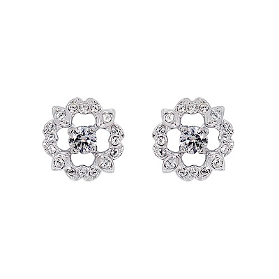 SWAROVSKI 施華洛世奇 璀璨水晶花環鏤空亮鑽銀色耳環