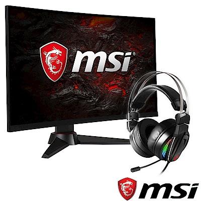[無卡分期12期]MSI微星Optix MAG24C 24型曲面電競螢幕+GH70電競耳機