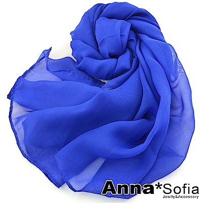 AnnaSofia 素面單色 雪紡圍巾長絲巾(寶藍系)
