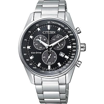 CITIZEN 星辰 Eco-Drive 光動能計時手錶-黑x銀/40mm
