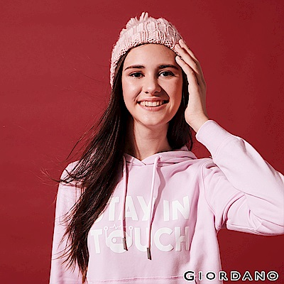 GIORDANO 女裝STAY IN TOUCH 印花口袋帽TEE-08 冰雪紫