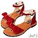 Ann'S水洗牛皮-甜美扭結寬版平底涼鞋-紅 product thumbnail 1