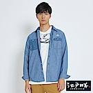 EDWIN EDO KATSU江戶勝 棉麻異材質 牛仔襯衫-男-漂淺藍