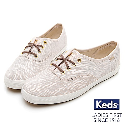 Keds CHAMPION 普普圓點經典綁帶休閒鞋-淺粉紅