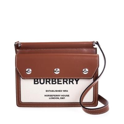 BURBERRY 新款迷你 Horseferry 印花口袋細節 Title 斜背包 (棕色)