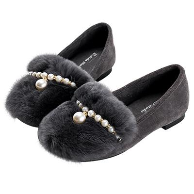 Robinlo浪漫女孩珍珠毛絨平底鞋 灰