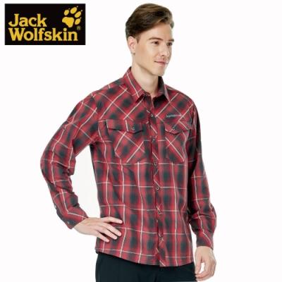 【Jack wolfskin 飛狼】男 英倫格紋長袖排汗襯衫 『紅格紋』