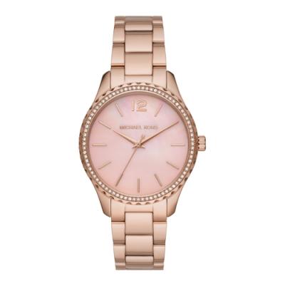 Michael Kors 氣質高雅珍珠粉貝時尚腕錶-MK6848-39mm