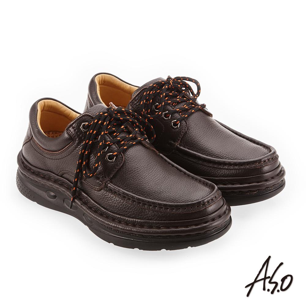 A.S.O 手縫氣墊 精緻縫線雙色鞋帶休閒鞋 咖啡